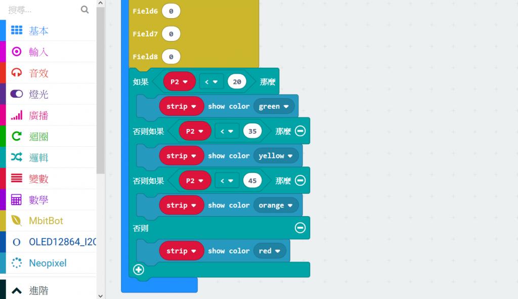 依照PM2.5 數值大小分為4種顏色燈號