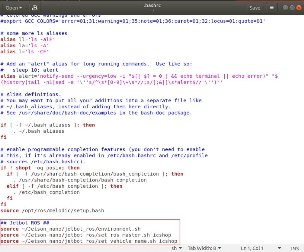 圖0-1 : 在 ~/.bashrc 檔案中,新增指令