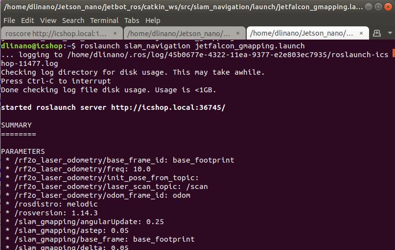 圖 2-1 : 在 Jet-falcon 上 執行 jetfalcon_gmapping.launch