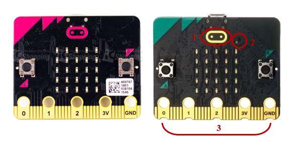 microbit v1.5 與 microbit v2 正面差異